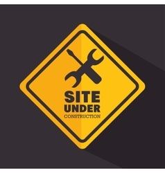 Sign site under construction tools vector