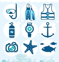 Underwater icons vector