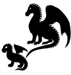 Adult and baby dragon silhouettes vector