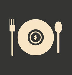 Flat black and white coin in plate vector