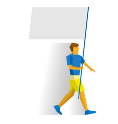 Man with blank standard in two hands flag bearer vector