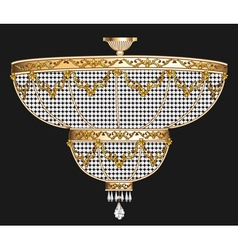Antique chandelier with crystal pendants vector
