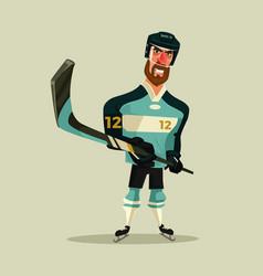 happy smiling hockey player character mascot vector image