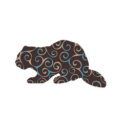 beaver wildlife color silhouette animal vector image