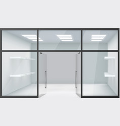 shop empty interior front store 3d realistic vector image