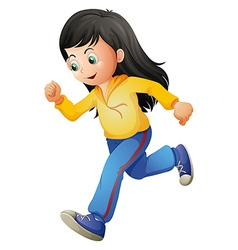 A cute lady running vector image