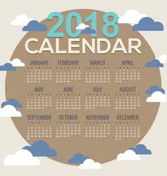 2018 clouds round shape printable calendar starts vector