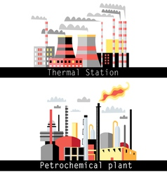 Petrochemical plant and thermal power plant vector