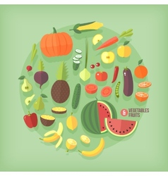 Fruits and vegetables flat icons collection set vector