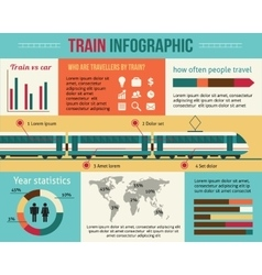 Train and railway infographic vector