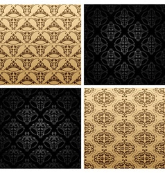 Seamless set four vintage backgrounds ornament wal vector