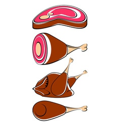 Different meat vector