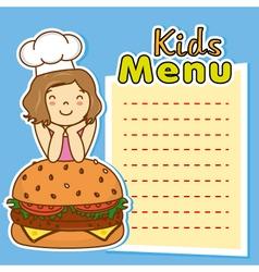 girl with hamburger vector image