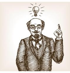 Vintage scientist gentleman sketch style vector