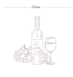 Wine bottle and glass hand drawn realistic sketch vector