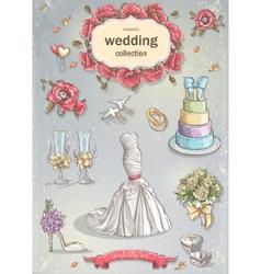 A set of wedding romantic items vector