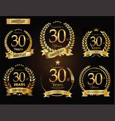 Anniversary golden laurel wreath 30 years vector