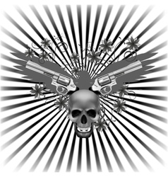 Background eagle with a skull and guns vector