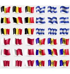 Belgium honduras bahrain moldova set of 36 flags vector