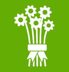 bouquet of flowers icon green vector image