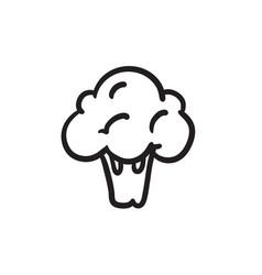 Broccoli sketch icon vector