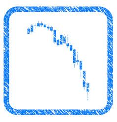Candlestick falling acceleration chart framed vector
