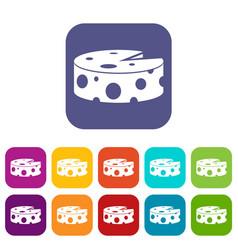 Cheese wheel icons set vector