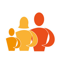 color pictogram with family in half body vector image