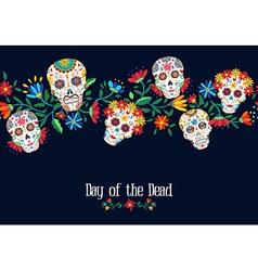 Day of the dead flower skull background design vector