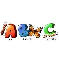 English alphabet abc with words vector