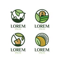 Farming logo set vector