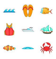 fishing in the sea icons set cartoon style vector image