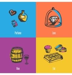 France national symbols icons set vector