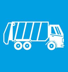 Garbage truck icon white vector