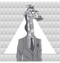 Giraffe animal hipster style triangule background vector