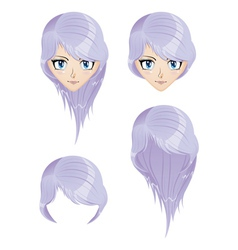 Girl with violet hair vector image vector image