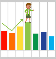 Happy businesswoman with good bar chart vector