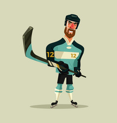 happy smiling hockey player character mascot vector image vector image