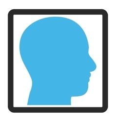 Head Profile Framed Icon vector image