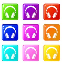 headphones icons 9 set vector image