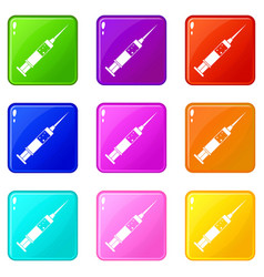 Injection syringe icons 9 set vector
