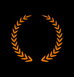 Laurel wreath sign orange icon on black vector