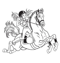 Little girl on a pony horse vector