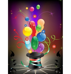 Magic hat and balloons vector image vector image
