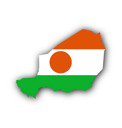 map and flag of niger vector image vector image