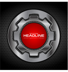 Metallic gear shapes and red circle vector
