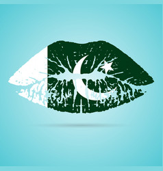 pakistan flag lipstick on the lips isolated on a vector image vector image