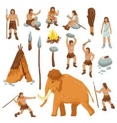 Primitive people flat cartoon icons set vector