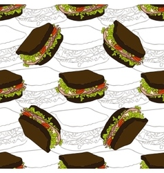 seamless pattern sandwich scetch and color vector image