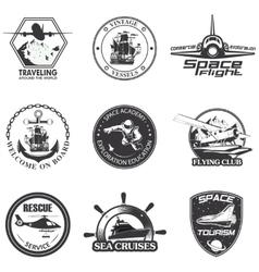 Set of vintage space nautical aeronautics flight vector image
